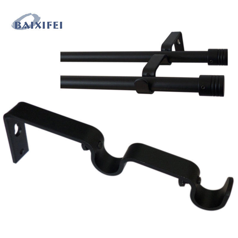 2 Pcs D16mm Curtain Rod Decorative Double Extensible Bracket 7/14 Cm , Curtain Accessories Bracket For Window Decoration