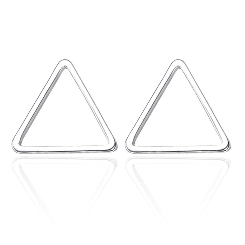 100 925 sterling silver fashion geometric ladies stud earrings jewelry wholesale women cheap gift Anti allergy in Stud Earrings from Jewelry Accessories