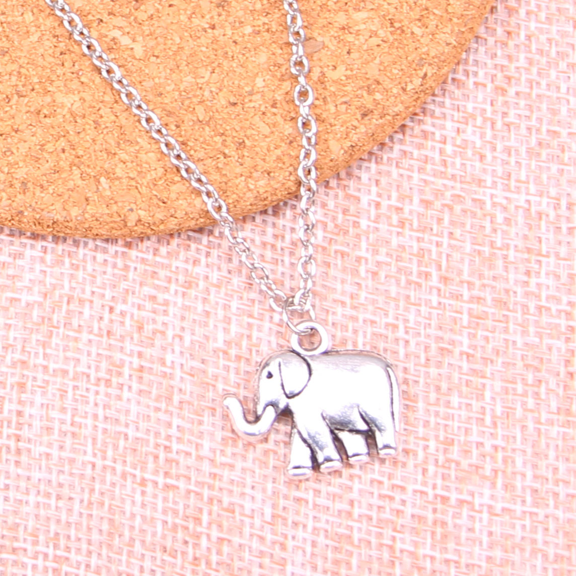 Fashion Antique Silver Color 21*18*5mm two sided elephant Pendant Necklace,Handmade Necklace Dropship Suppliers