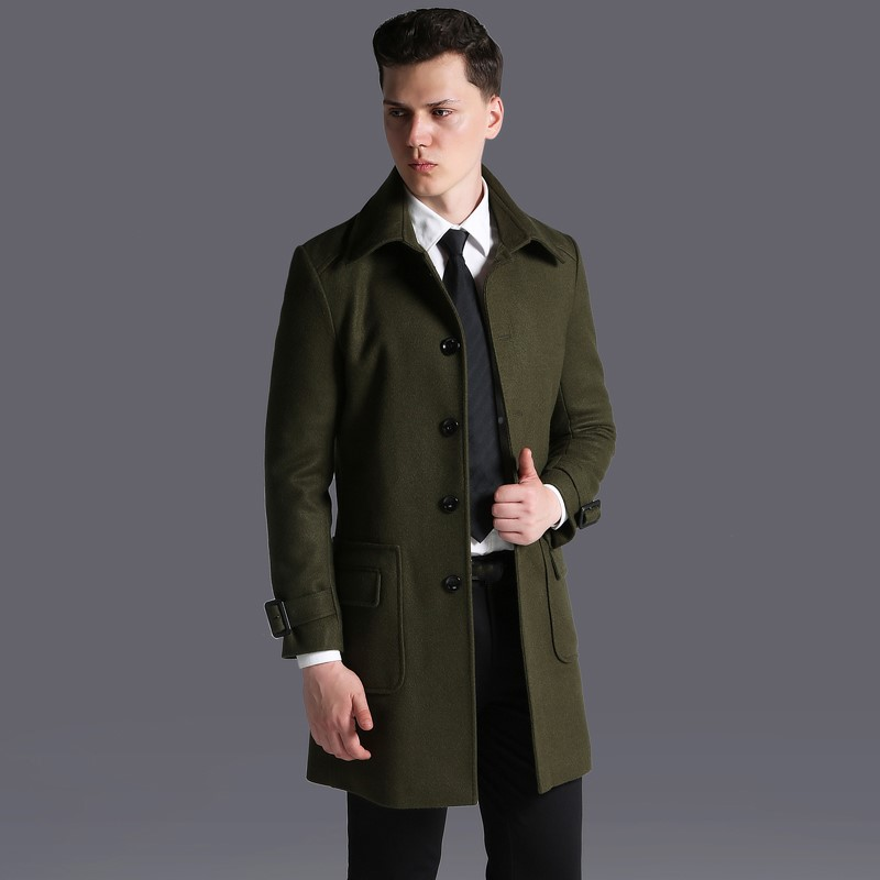 Men Winter Short Casual Work Wool Jacket Coat Fashion Plus Size Military Green Solid Single Breasted Pockets Cashmere Blend Coat