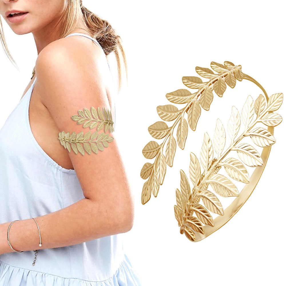 Gold Silver Greek Roman Laurel Leaf Bracelet Armband Upper Arm Cuff Armlet Festival Bridal Belly Dance Jewelry