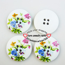 20PCS 30MM butterfly painting wooden buttons coat boots sewing clothes accessories MCB-233