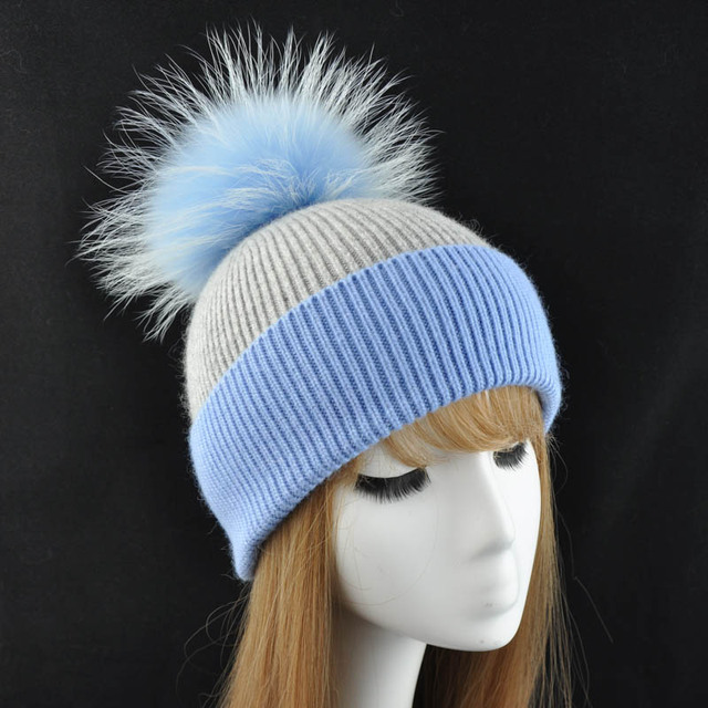 9ab6d2dca6f Women Real Fur Pom Pom Hat Female Autumn Winter Wool Knitted Beanies Cap  Ladies Cashmere Natural Raccoon Fur Pompom Beanie Hat