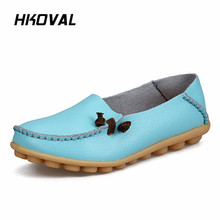 цена на HKOVAL Women Shoes Sneaker Genuine Leather Woman Casual Flats Mother Loafers Female Driving Footwear Boat Shoe Solid