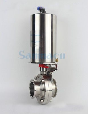 3/4-2 SUS304 Stainless Steel Sanitary Pneumatic Vertical Tri Clamp Butterfly Valve Homebrew 1pc 63mm od sanitary check valve tri clamp type stainless steel ss sus 304