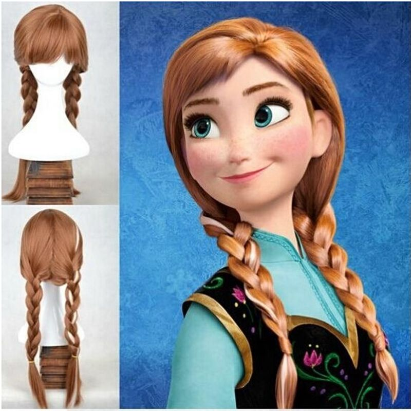 Morematch High Quality Anime Cosplay Princess Anna Wig Blonde Brown Braided Synthetic Fake Hair Halloween Costume Wigs For Adult