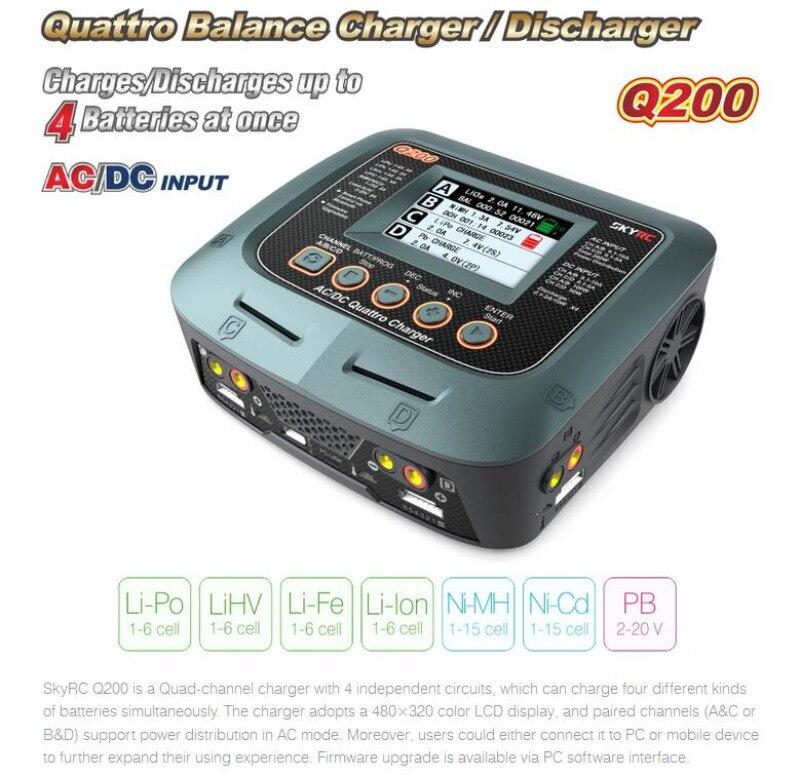 SkyRC Q200 QUATTRO AC/DC 2X100 W 2X50 W Batterie Lipo Équilibre Chargeur Déchargeur Pour RC Quadcopter Multirotor Pièces