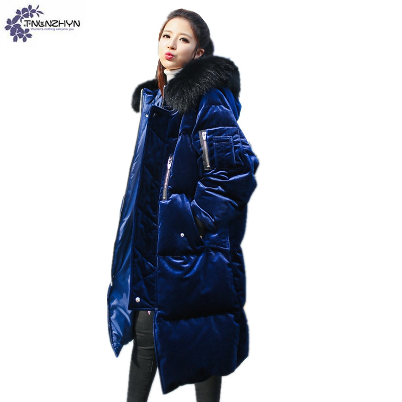 TNLNZHYN 2017 winter new Women clothing Gold velvet Cotton coat fashion large size thickening keep warm female Cotton coat QQ125