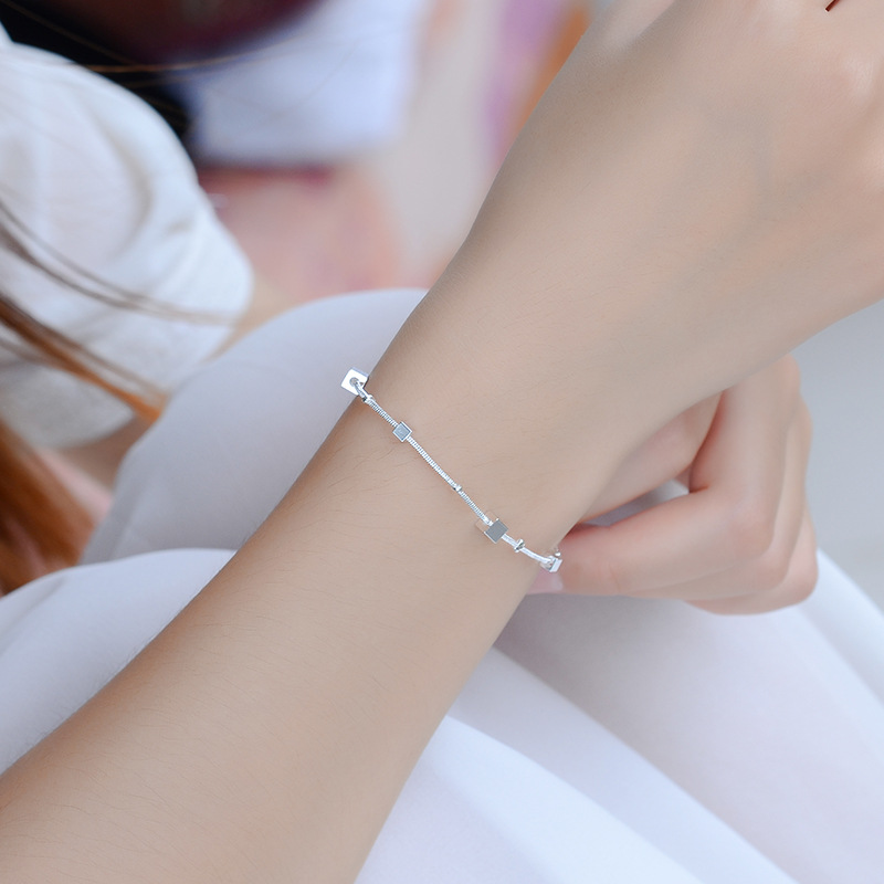Everoyal Charm Square Silver Anklets For Women Birthday Gift Trendy Girl Silver 925 Bracelets Female Accessories Summer
