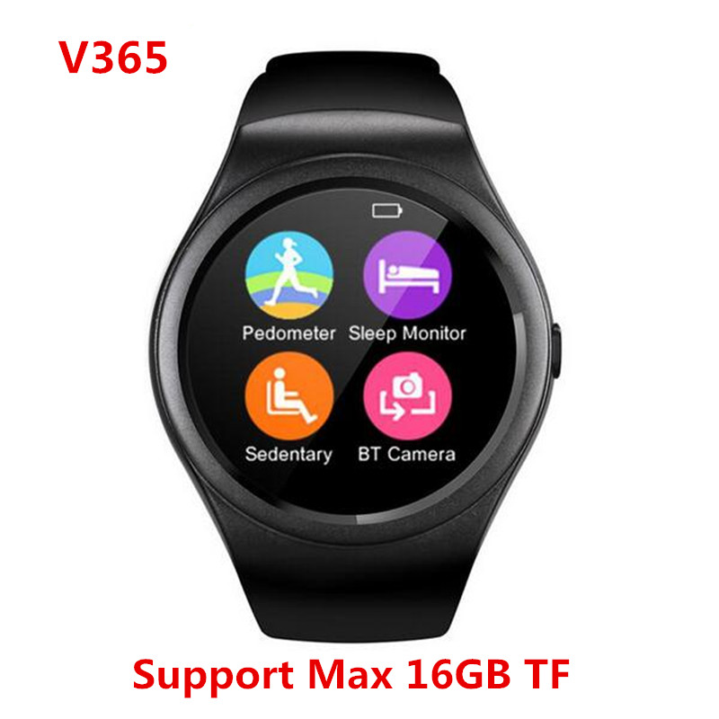 imágenes para Nuevo Reloj Inteligente Bluetooth V365 Círculo Completo Pantalla Táctil Smartwatch Sport Fitness Podómetro Apoyo TF Tarjeta SIM Para IOS Android