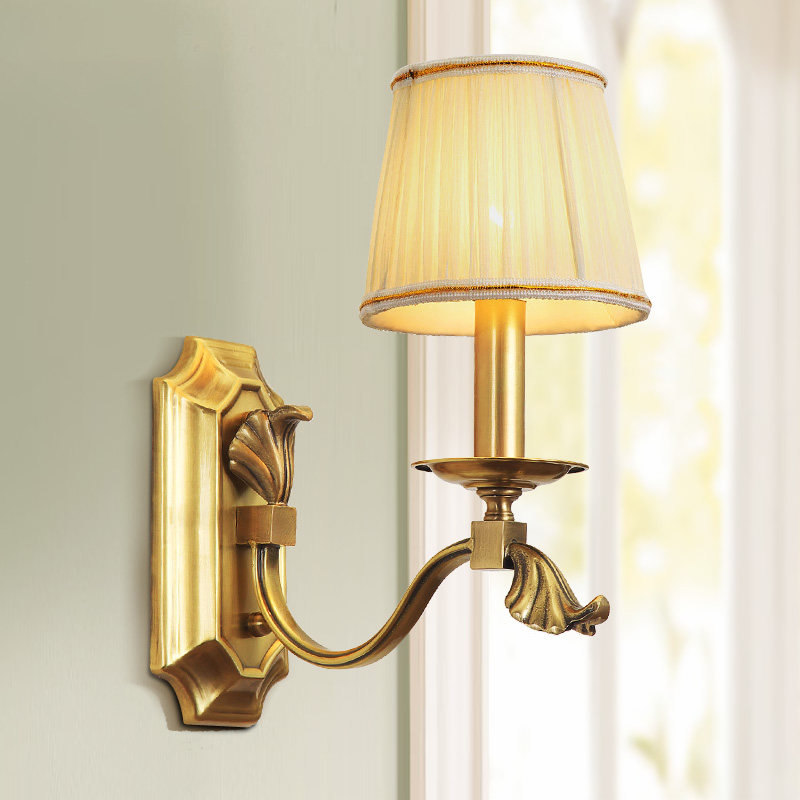American style wall lamps all copper lamp body cloth art lampshade home foyer corridor LED E14 lamp holder wall mount sconce in LED Indoor Wall Lamps from Lights Lighting