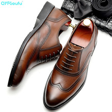 QYFCIOUFU 2019 New Arrival Brogue Men Shoes Genuine Leather Pointed Toe Lace-up Dress Shoes Men Formal Fashion Office Shoes 2017 new spring fashion men pointed toe brogue shoes lace up genuine leather casual shoes high quality thick sole shoes wa 50