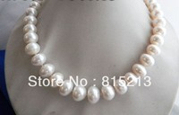 FREE SHIPPING>>>@@ > N376 AA 18'' 12mm 15mm 12mm White Flat Round Freshwater Pearl Tower Silver Necklace