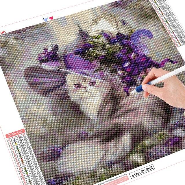 HUACAN 5d Diamond Mosaic Cat Diamond Painting Cross Stitch Art Diamond Embroidery Full Drill Square Animal