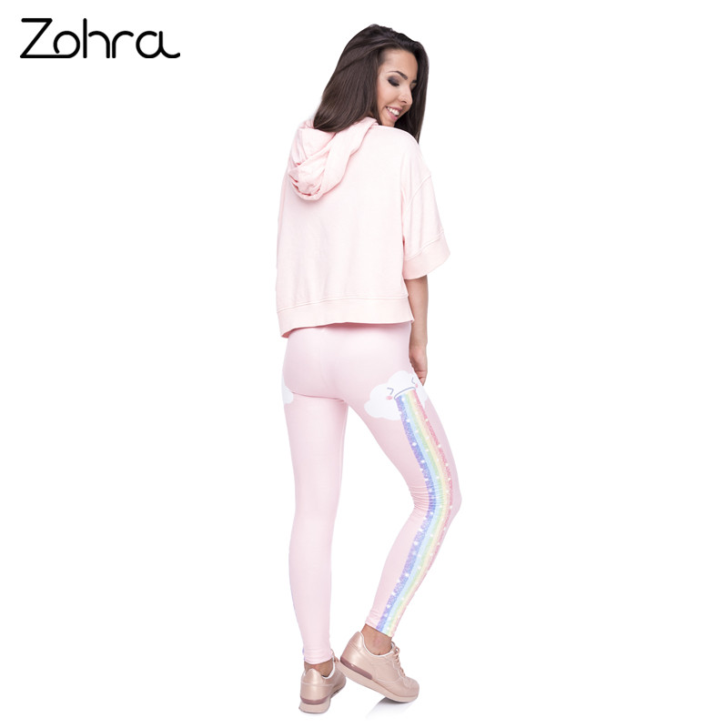 Zohra Elegant Design Women Legging Rainbow Rain Printing Fashion Kawaii Leggings High Waist Woman Pants