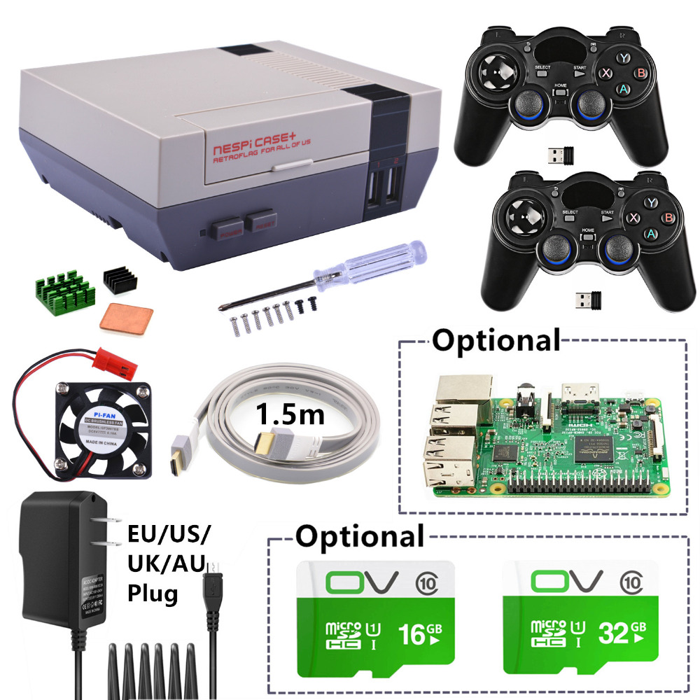 Nouveau NESPi Boitier + Plus Kit avec 2 pièces 2.4 GHz Sans Fil Manettes + En Option 16G/32G Carte Micro SD + Optionnel Raspberry Pi 3 Conseil