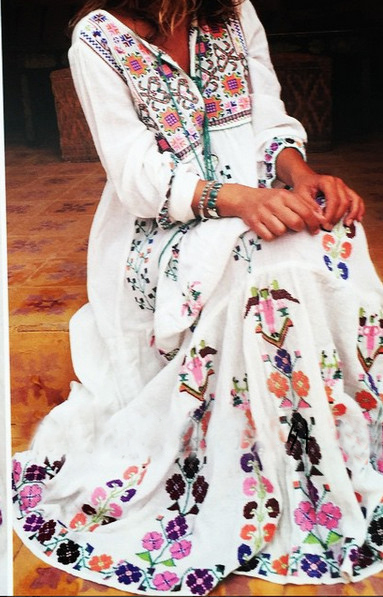 Bohemia Floral Embroidered Maxi Dress Long Sleeve White