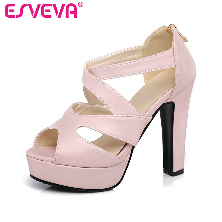 ESVEVA 2017 Thick High Heel Woman Pumps Sexy Peep Toe Black Gladiator Summer Women Shoes Zipper Wedding /Dating Shoes Size 34-43 esveva 2017 thin high heel women pumps platform white peep toe wedding shoes sexy ol white ankle strap summer shoes size 34 43
