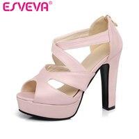 ESVEVA 2017 Thick High Heel Woman Pumps Sexy Peep Toe Black Gladiator Summer Women Shoes Zipper Wedding /Dating Shoes Size 34-43