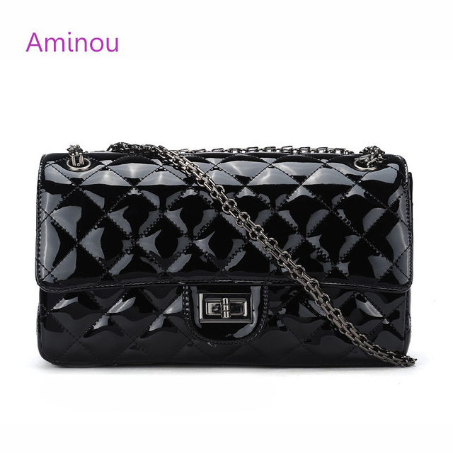 Aminou Small Flap Messenger Bags For Women Patent Leather Handbags Lady Luxury Desiger Chain Shoulder Bag