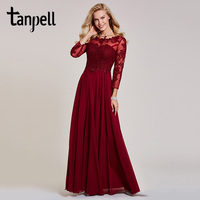 Tanpell Long Sleeves Evening Dress Burgundy Appliques Bateau Neck Floor Length A Line Gown Women Wedding
