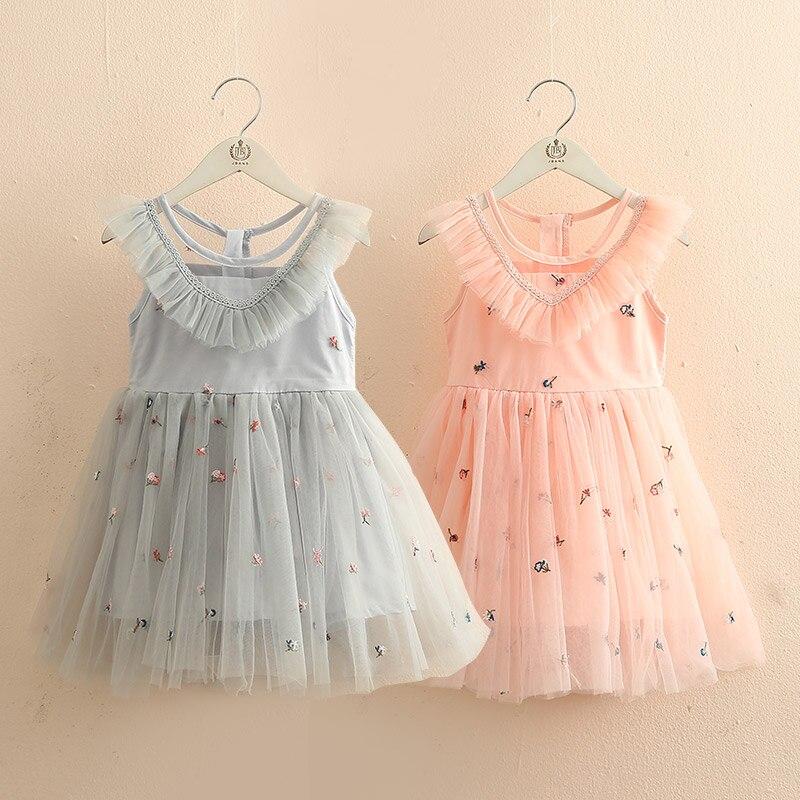 f8957fae2d8b 2019 verano 3-6 8 10 12 años bordado Floral para fiesta de graduación de niños  sin mangas princesa niña encaje vestido para boda sólido