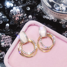 Luxury Rhinestone Inlaid Gold Color Metal Loop Drop Earrings Big Round Circles P