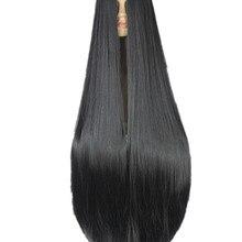 Fei-Show Черный парик 100 см/40 дюймов Синтетические термостойкие волокна длинные Хэллоуин Карнавальный костюм Cos-play прямые волосы