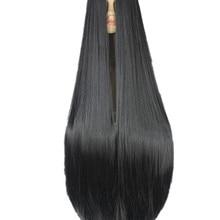 Fei-Show-peluca negra de fibra sintética resistente al calor, pelo liso para disfraz de Carnaval y Halloween, 100CM/40 pulgadas