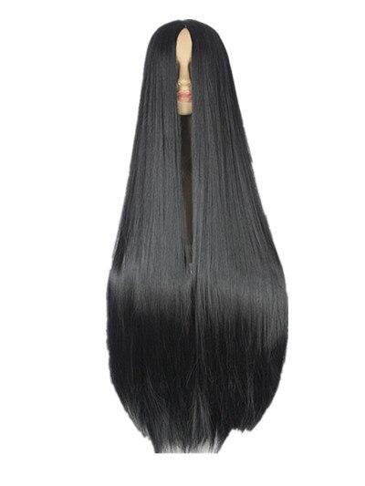 Черный парик Fei Show, 100 см/40 дюймов, синтетический, термостойкий, длинный, карнавальный костюм для Хэллоуина, прямые волосы|hair hair|hair straighthair long | АлиЭкспресс
