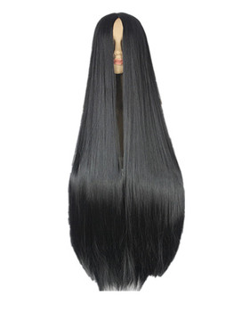 Fei-Show Black Wig 100CM/40 Inches Synthetic Heat Resistant Fiber Long Halloween Carnival Costume Cos-play Straight Hair
