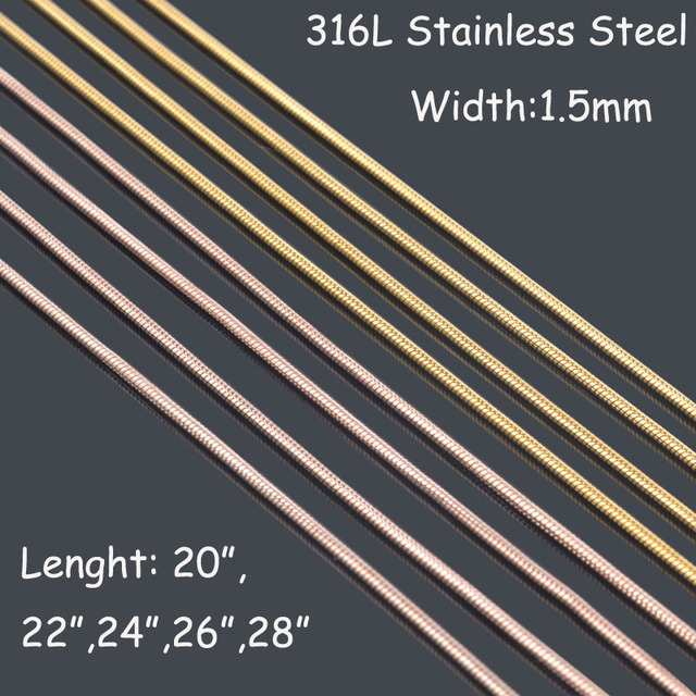 1.5mm*51-71cm Gold/Rose gold round snake chains necklaces,men 316L stainless steel necklace chains free shipping BT081