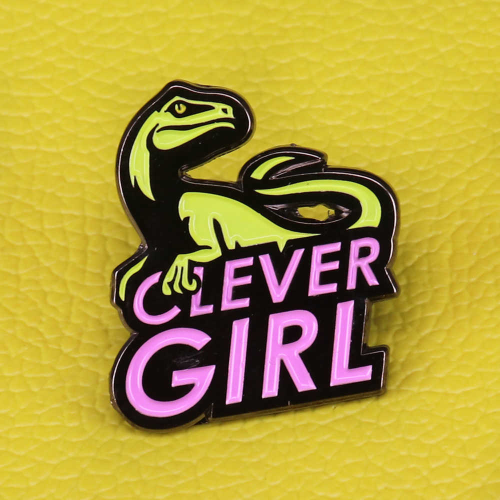 Clever girl enamel pin dinosaur badge women's brooch cute animal jewelry gifts for women accessories