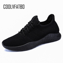 Купить с кэшбэком COOLVFATBO Men Casual Shoes Brand Men Shoes Men Sneakers Flats Mesh Slip On Loafers Fly Knit Breathable High Quality Comfortable