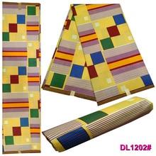 New dress blue gold African imitation cotton batik fabric DIY 1 piece 6yr