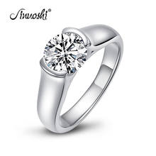 цена на Women Engagement Ring Jewelry Genuine 925 Sterling Silver Rings for Women Luxury 2 Carat Sona Synthetic Diamond Engagement Ring