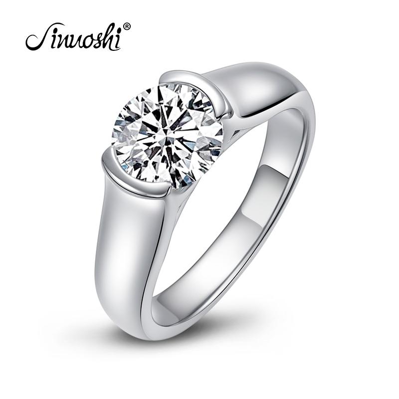 Dame Engasjement Solitaire Ring smykker ekte 925 Sterling sølv ring for kvinner luksus 2 karat Sona syntetisk forlovelsesring