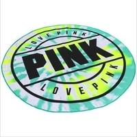 Pink Microfiber Fabric Bath Towel Round Feather Beach Towel Large Towel