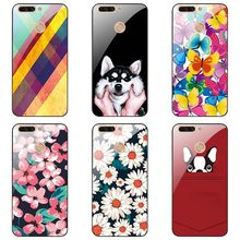 For Huawei Honor 8 pro Tempered Glass cases fashion style Tempered Glass Cover Floral colorful painting skin shell(China)