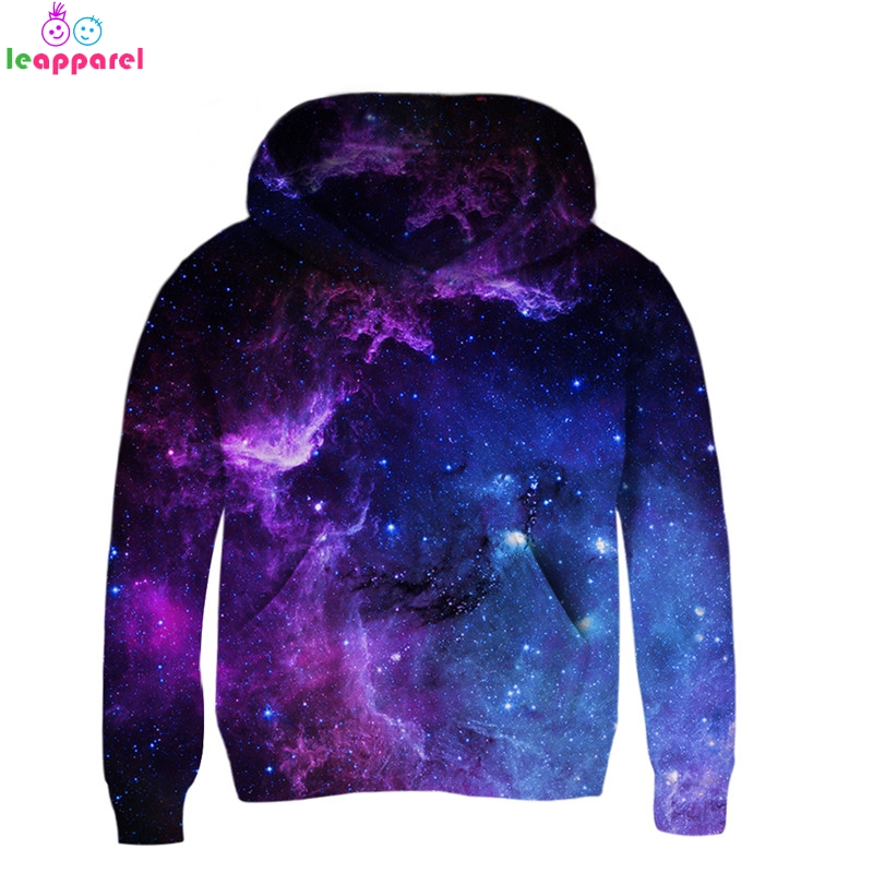 Leapparel 3T 13T Hoodies 2019 Space Galaxy 3D Hooded Coat