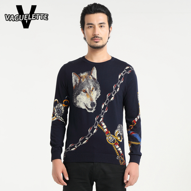 Casual Wolf Knitted Patterns Mens Sweaters Oversized Navy Blue Pull