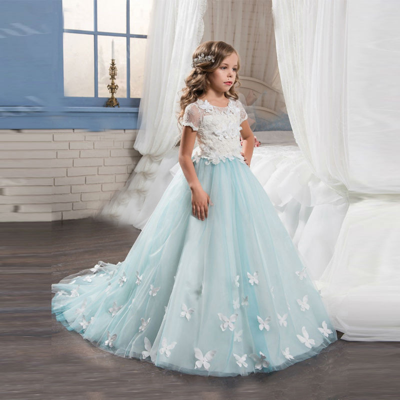 Short Sleeves Vintage   Flower     Girls     Dress   for Wedding Court Train Evening Party Pageant   Dress   Long Kids Prom Gown Formal Clothes