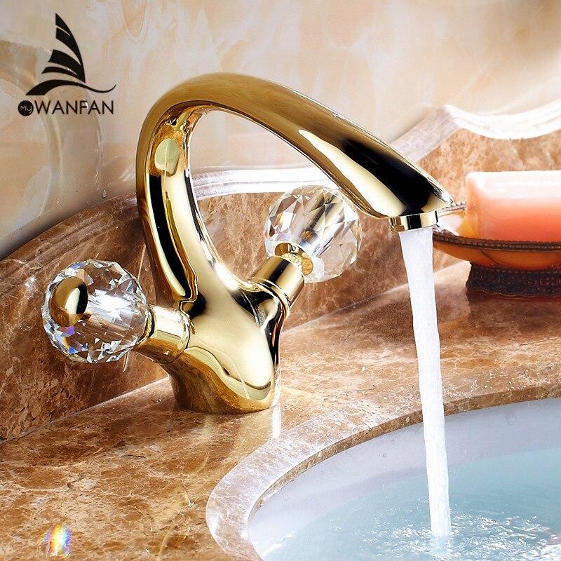 Torneiras de lavatório de Bronze do Ouro de Cristal Alça Torneira Do Banheiro Torneira Banheiro Mixer Água Tap Deck Montado Bacia Sink Torneiras Guindaste HJ-6651K