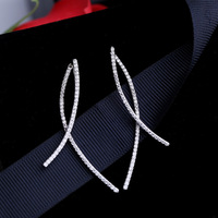 New And Long Style Of Cross Line Earrings Fashion And Simple Temperament Creative Ear Nail 925