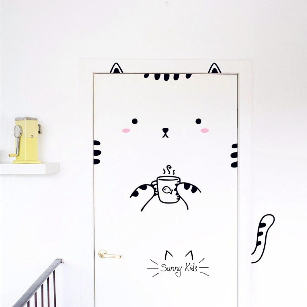 Children 39 S Room Door Decor Sticker Cute Cartoon Cat Custom