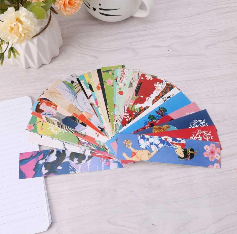 30 шт./пакет бумажная Закладка винтажный Японский Стиль закладки для книг канцелярские принадлежности для школьников, студентов