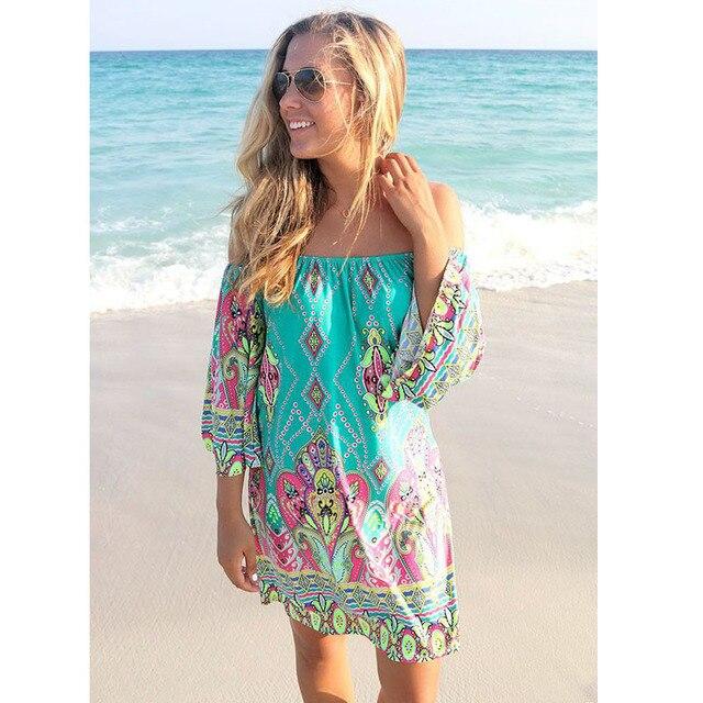 6b9a602db4b4 Retro Bohemian Summer Dress 2017 Robe Femme Sexy Long Sleeve Beach Dress  Women Print Casual Dresses Plus Size Vestidos C2203
