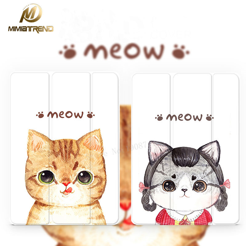 Mimiatrend Cute Cat Stand Design PU Leather Case for iPad 3 4 2 Smart Cover Smartcover for iPad4 iPad3 iPad2 + Protective film