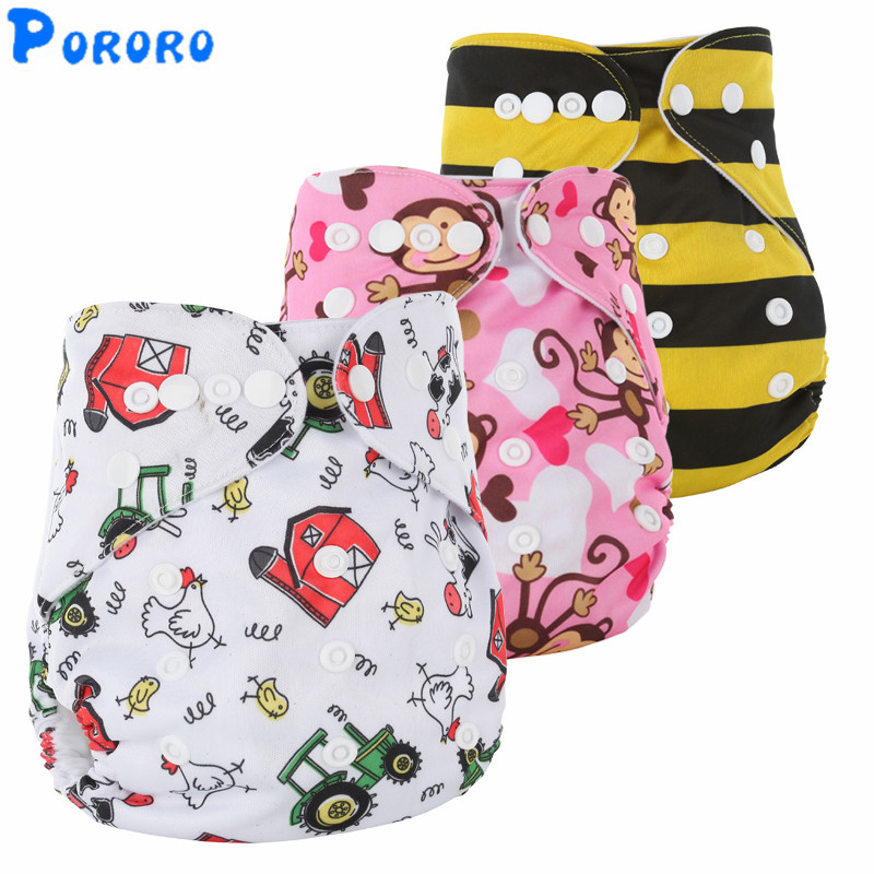 10 PCS Washable Diapers Baby Diaper Cover Cartoon Print Baby Nappy Changing Boys  Reusable Baby Cloth Diapers