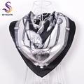 BYSIFA Black White Chain Square Scarves 2016 New Men Women All-Match Apparel Accessories 90*90cm Spring Autumn Silk Scarf Shawl